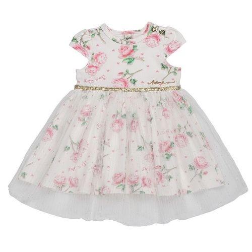 Vestido Bebê Feminino Floral com Tule na Saia