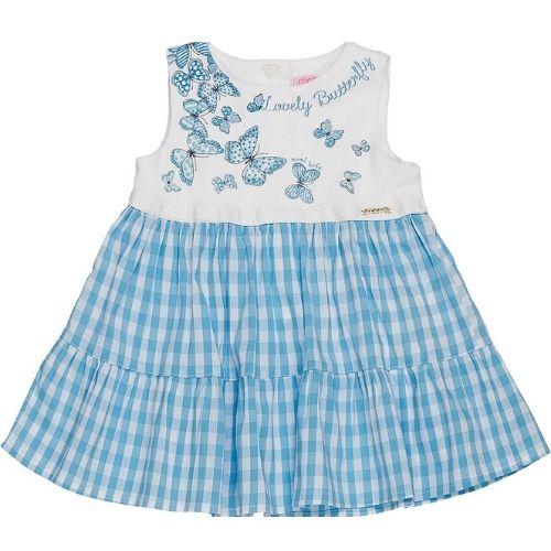 Vestido Bebê Feminino Xadrez com Borboletas