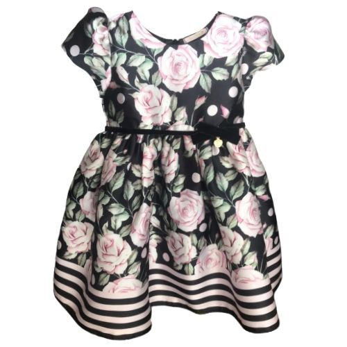 Vestido Feminino Bebê Festa Preto Floral