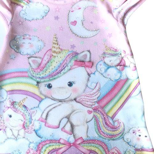 Vestido Feminino Bebê Rosa Unicórnios com Cristais