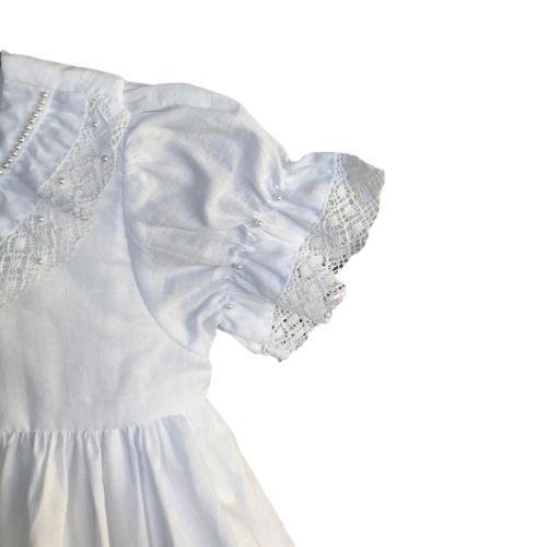 Vestido Feminino Branco Batizado com Renda de Algodão Anjos Baby