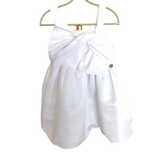 Vestido Feminino Branco com Laço no Peito