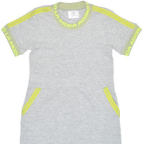 Vestido Infantil Feminino Cinza Gelo com Neon