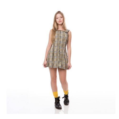 Vestido Feminino Curto Infantil Xadrez