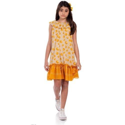 Vestido Feminino Infantil Bege com Poá Amarelo