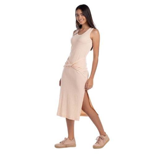 Vestido Feminino Infantil Bege Midi