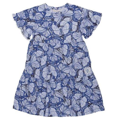 Vestido Feminino Infantil Borboletas Azuis