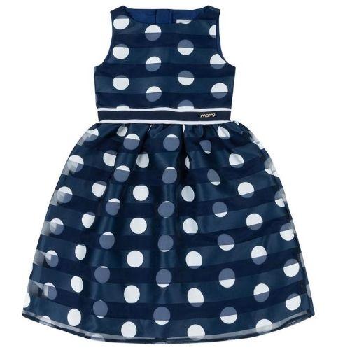 Vestido Feminino Infantil Festa Azul Marinho com Poá