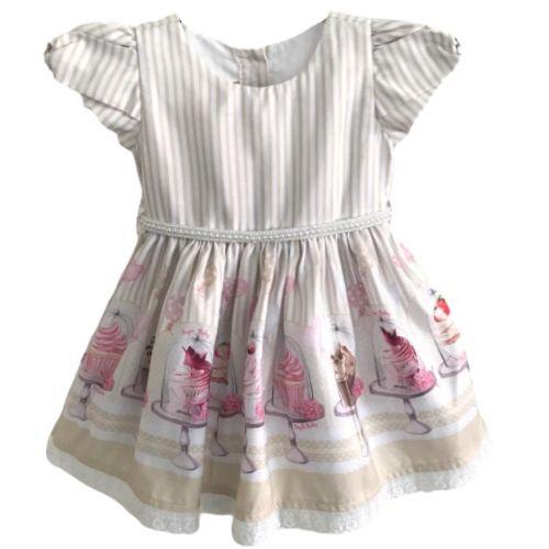 Vestido Feminino Festa Bebê com Saia de Cupcakes