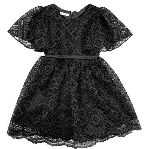 Vestido Feminino Festa Infantil Renda com Faixa