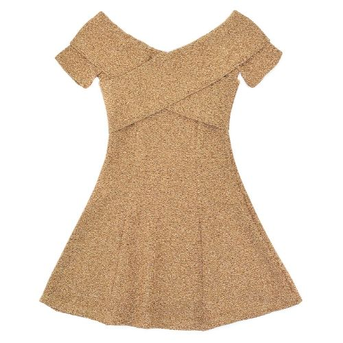 Vestido Infantil Feminino Dourado Transpassado