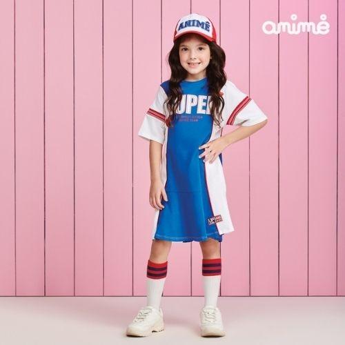 Vestido Infantil Feminino Azul com Branco Super Animê