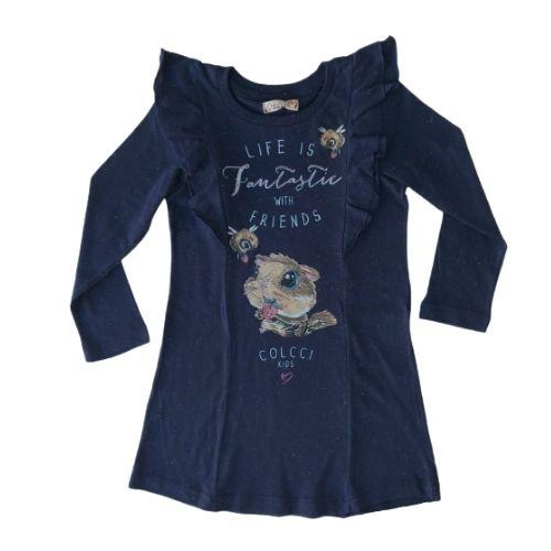Vestido Infantil Feminino Azul Marinho Babados