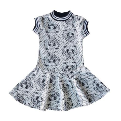 Vestido Infantil Feminino Branco Urso