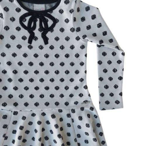Vestido Infantil Feminino Cinza com Poá Momi