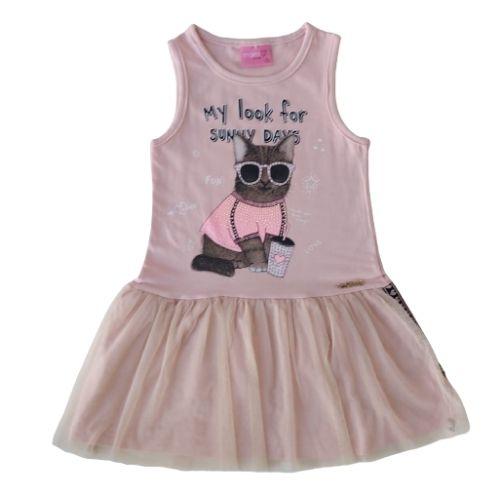 Vestido Infantil Feminino com Blusa Moletom Gatinha