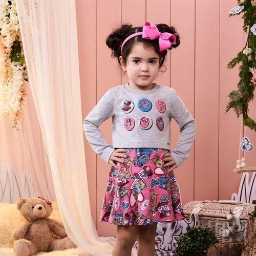 Vestido Infantil Feminino com Blusa Moletom Lhamas Momi