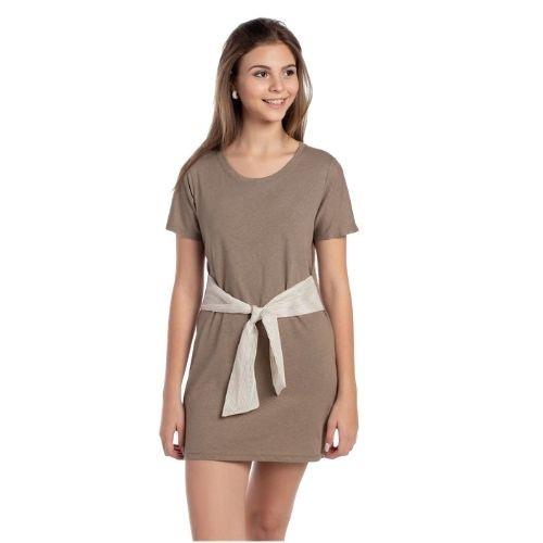 Vestido Infantil Feminino com Faixa Listrada de Amarração