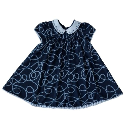 Vestido Infantil Feminino com Gola Bordada