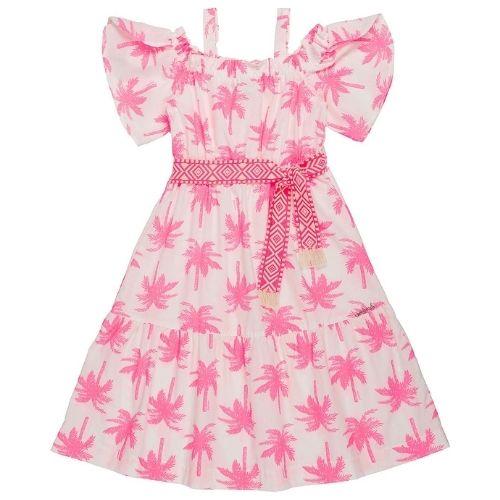 Vestido Infantil Feminino Coqueiros Neon