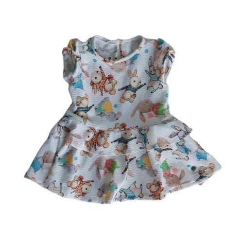 Vestido Infantil Feminino Estampado com Babados