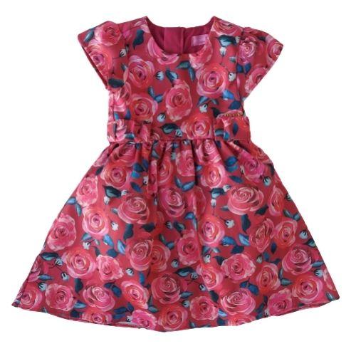 Vestido Infantil Feminino Festa Vermelho Rosas