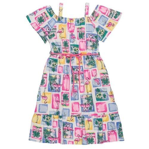 Vestido Infantil Feminino Flamingos