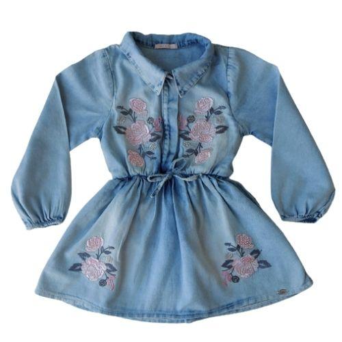 Vestido Infantil Feminino Jeans Bordado Rosas