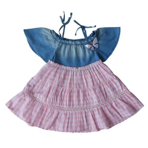Vestido Infantil Feminino Jeans com Xadrez Rosa