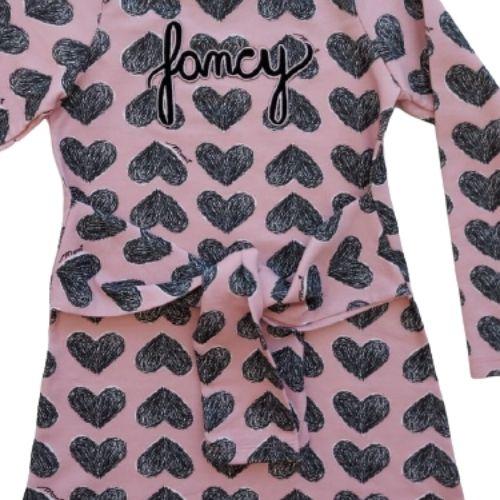Vestido Infantil Feminino Moletom Corações