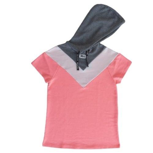 Vestido Infantil Feminino Moletom Rosa Neon com Capuz