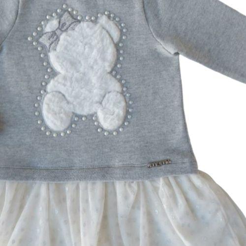 Vestido Infantil Feminino Moletom Ursinha