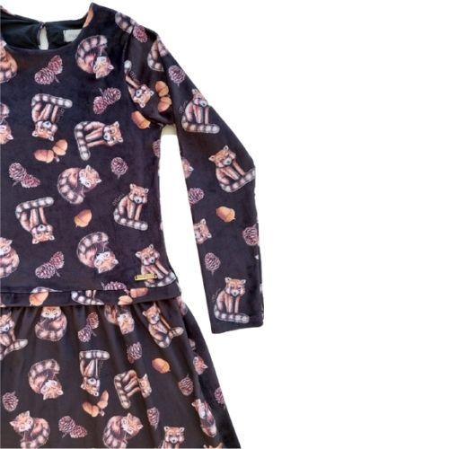 Vestido Infantil Feminino Plush Raposinhas