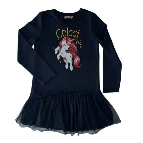 Vestido Infantil Feminino Preto com Tule Unicórnio