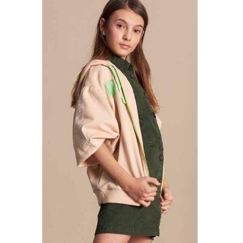 Vestido Infantil Feminino Regata Sarja Verde Militar Colcci Fun