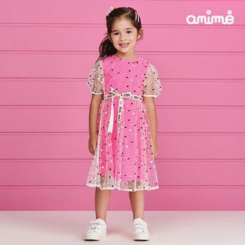 Vestido Infantil Feminino Rosa com Tule Branco de Poá