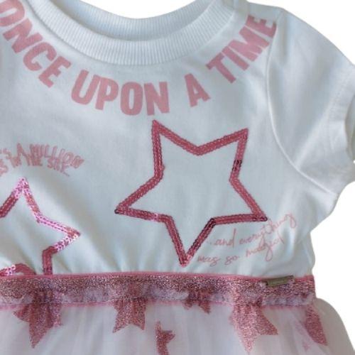 Vestido Infantil Feminino Saia Tule Estrelas Animê