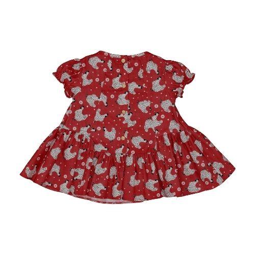 Vestido Infantil Feminino Vermelho Galinhas