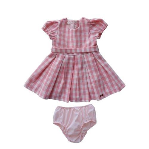 Vestido Infantil Feminino Xadrez com Calcinha