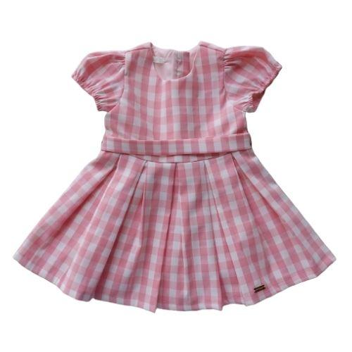 Vestido Infantil Feminino Xadrez com Calcinha 1+1