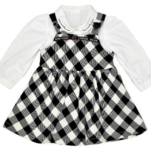 Vestido Infantil Feminino Xadrez com Camisa de Gola Bordada