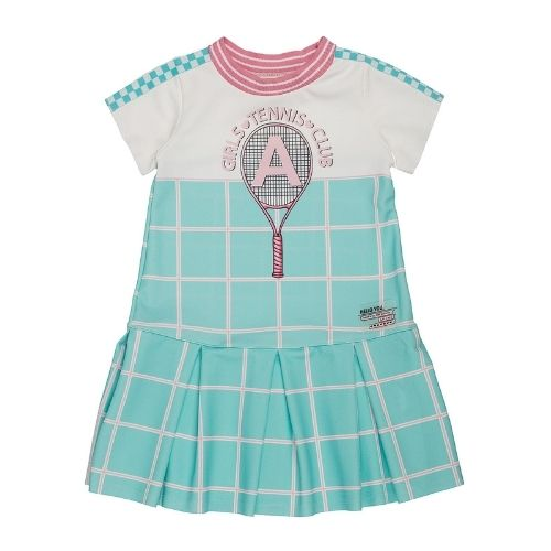 Vestido Infantil Feminino Xadrez Verde Água Tênis
