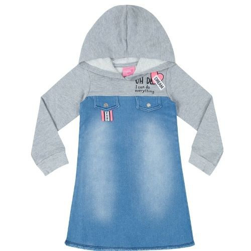 Vestido Infantil Feminino Jeans com Moletom Cinza