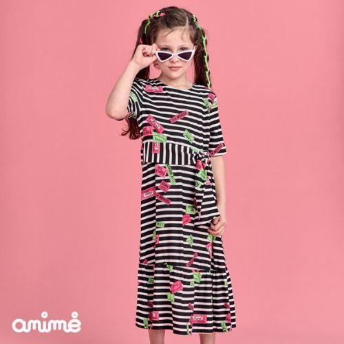 Vestido Infantil Feminino Midi Listras e Etiquetas