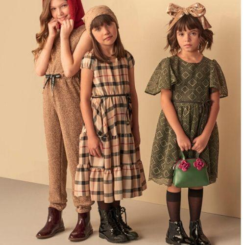 Vestido Infantil Feminino Midi Xadrez