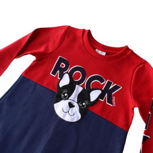 Vestido Infantil Feminino Moletom Dog Rock