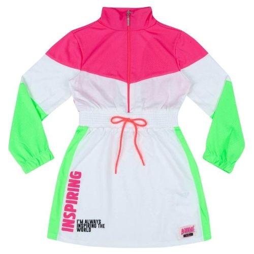 Vestido Infantil Feminino Pink e Verde Neon