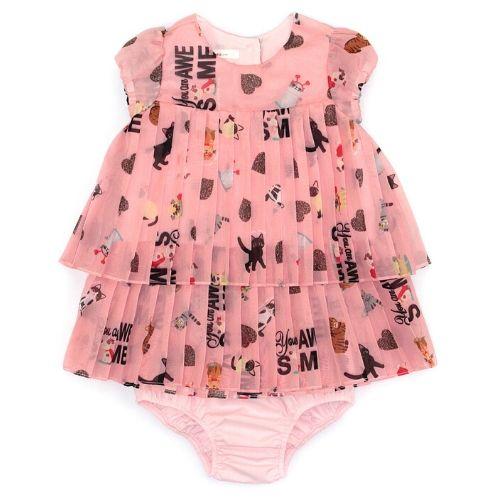 Vestido Infantil Feminino Plissado Bichinhos