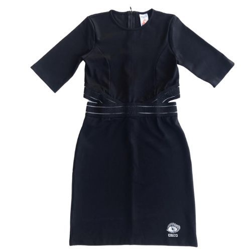 Vestido Infantil Feminino Preto com Recorte Cintura