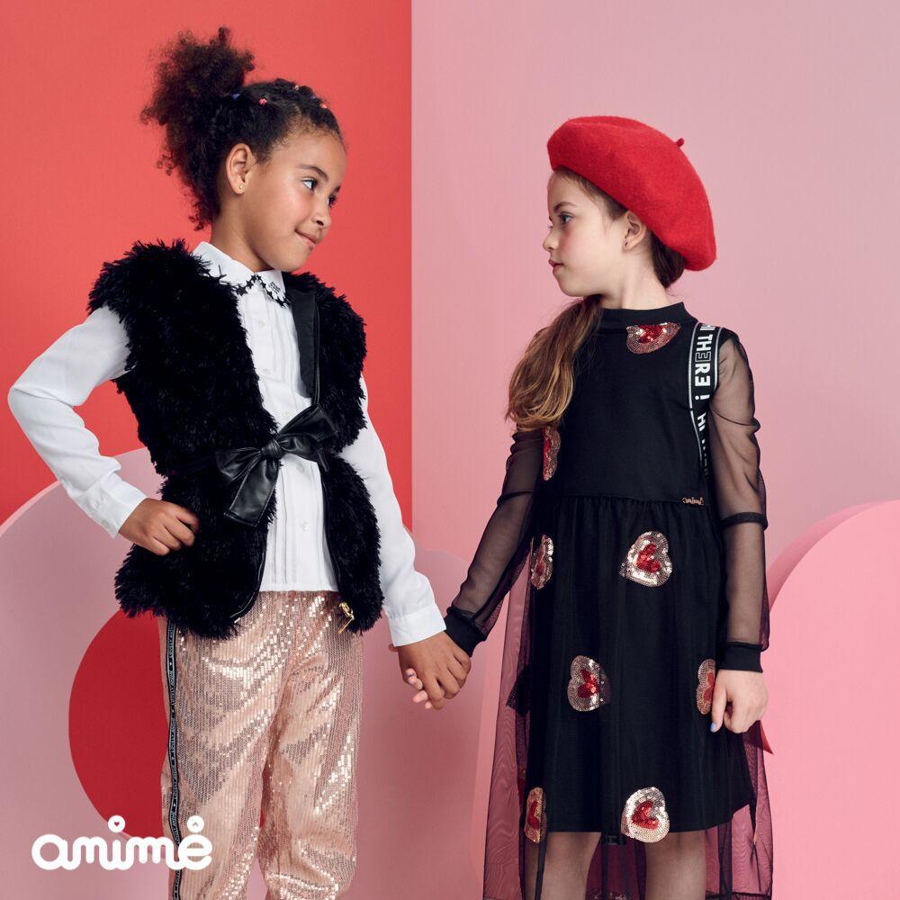 Vestido Infantil Feminino Preto Corações de Paetê